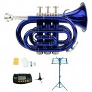 Merano B Flat Blue Brass Pocket Trumpet,Case+Stand+Metro Tuner+Blue Music Stand