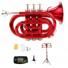 Merano B Flat Red Brass Pocket Trumpet,Case+Stand+Metro Tuner+Red Music Stand