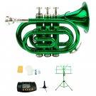 Merano B Flat Green Brass Pocket Trumpet,Case+Stand+Metro Tuner+Green Music Stand