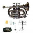 Merano B Flat Silver Brass Pocket Trumpet,Case+Stand+Metro Tuner+Music Stand