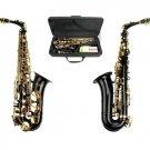 MERANO E Flat Black / Gold Alto Saxophone with Zippered Hard Case