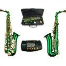 MERANO E Flat GREEN / Gold Alto Saxophone with Case,Free Metro Tuner