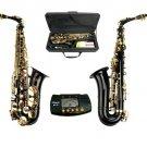 MERANO E Flat Black / Gold Alto Saxophone with Case,Free Metro Tuner