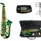 MERANO E Flat GREEN / Gold Alto Saxophone with Case,Metro Tuner,Music Stand