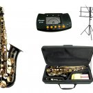 MERANO E Flat Black / Gold Alto Saxophone with Case,Metro Tuner.Music Stand.