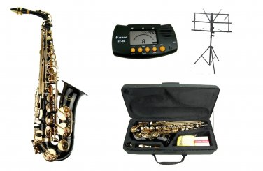 MERANO E Flat Black / Gold Alto Saxophone with Case,Metro Tuner.Music Stand.