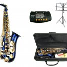 MERANO E Flat Blue Alto Saxophone with Case,Metro Tuner.Music Stand