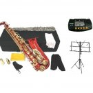 MERANO E Flat Red / Gold Alto Saxophone with Case, Metro Tuner.Music Stand