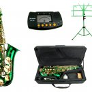 MERANO E Flat GREEN / Gold Alto Saxophone with Case,Metro Tuner,Green Music Stand
