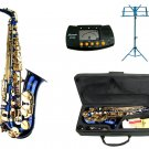 E Flat Blue Alto Saxophone with Case,Metro Tuner.Blue Music Stand