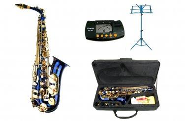 MERANO E Flat Blue Alto Saxophone with Case,Metro Tuner.Blue Music Stand