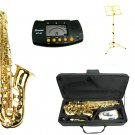 MERANO E Flat Gold Alto Saxophone with Case,Metro Tuner.Yellow Music Stand
