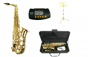 MERANO E Flat Gold Alto Saxophone with Case,Metro Tuner.Yellow Music Stand
