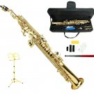 MERANO B Flat Gold Soprano Saxophone with Case,Yellow Music Stand