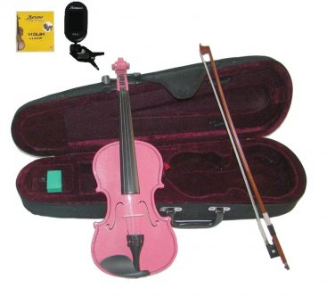 Merano 3/4 Size Hot Pink Violin,Case,Bow+Rosin+2 Sets Strings+Chromatic Clip On Tuner