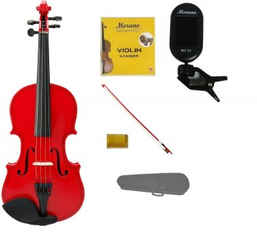 Merano 1/2 Size Red Violin,Case,Red Stick Bow+Rosin+2 Sets Strings+Chromatic Clip On Tuner