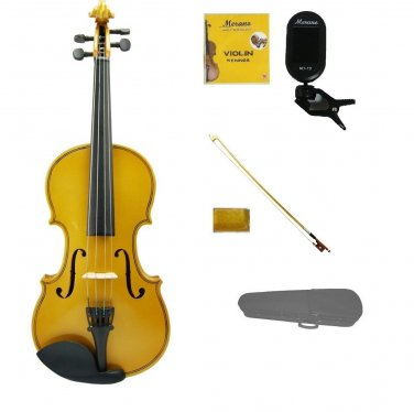 Merano 3/4 Size Gold Violin,Case,Gold Stick Bow+Rosin+2 Sets Strings+Chromatic Clip On Tuner