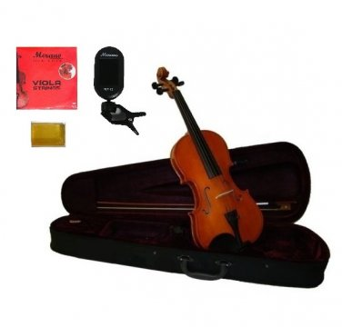 "Merano 13"" Acoustic Student Viola,Case,Bow+Rosin+2 Sets Strings+Chromatic Clip On Tuner"