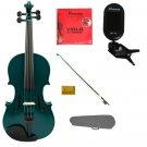 "Merano 15"" Green Viola,Case,Green Stick Bow+Rosin+2 Sets Strings+Chromatic Clip On Tuner"
