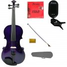 "Merano 15"" Purple Viola,Case,Purple Stick Bow+Rosin+2 Sets Strings+Chromatic Clip On Tuner"