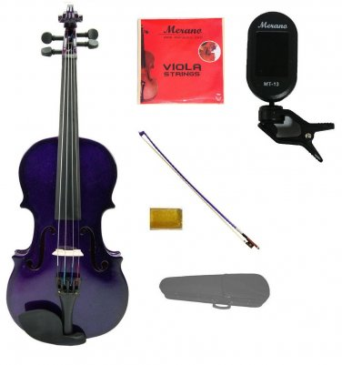 "Merano 12"" Purple Viola,Case,Purple Stick Bow+Rosin+2 Sets Strings+Chromatic Clip On Tuner"