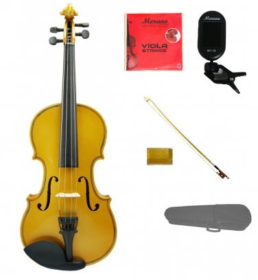 """Merano 13"""" Gold Viola,Case,Gold Stick Bow+Rosin+2 Sets Strings+Chromatic Clip On Tuner"""