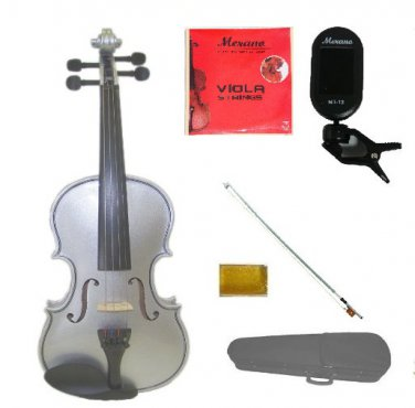 "Merano 14"" Silver Viola,Case,Silver Stick Bow+Rosin+2 Sets Strings+Chromatic Clip On Tuner"