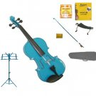 Merano 3/4 Size Blue Violin with Matching Color Bow, Music Stand