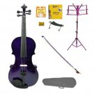 Merano 4/4 Size Purple Violin with Matching Color Bow, Music Stand