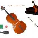 3/4 Size Student Cello,Bow,Bag,String+3/4 Size Student Violin Set,Save for 2 Students