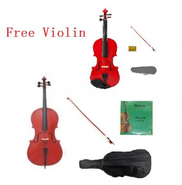 4/4 Size Red Cello,Red Bow,Bag,String+4/4 Size Red Violin Set,Save for 2 Students