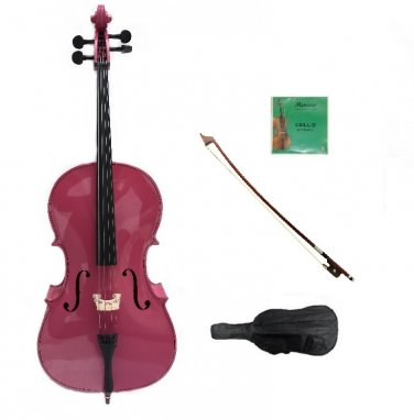 Merano 1/16 Size Hot Pink Cello with Bag and Bow + 2 Sets of Strings + Rosin