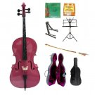 Merano 4/4 Size Hot Pink Cello, Hard Case,Soft Bag,Bow,2 Sets Strings,Tuner,Rosin,2 Stands