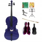 Merano 4/4 Size Purple Cello, Hard Case,Soft Bag,Bow,2 Sets Strings,Tuner,Rosin,2 Stands