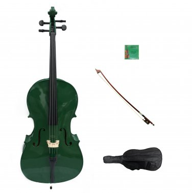 Merano 1/16 Size Green Cello with Bag and Bow + 2 Sets of Strings + Rosin