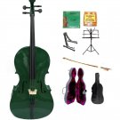 Merano 4/4 Size Green Cello, Hard Case,Soft Bag,Bow,2 Sets Strings,Tuner,Rosin,2 Stands