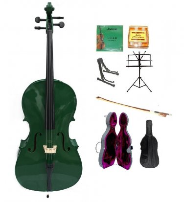 Merano 1/2 Size Green Cello, Hard Case,Soft Bag,Bow,2 Sets Strings,Tuner,Rosin,2 Stands