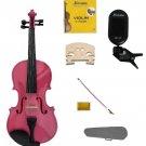 1/2 Size Hot Pink Violin,Case,Pink Bow+Rosin+2 Sets Strings+2 Bridges+Tuner