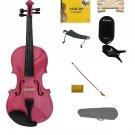 1/4 Size Pink Violin,Case,Pink Bow+Rosin+Strings+2 Bridges+Tuner+Shoulder Rest