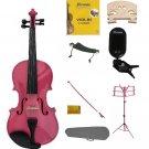 3/4 Pink Violin,Case,Pink Bow+Rosin+2 Bridges+Tuner+Shoulder Rest+Pink Stand