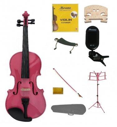 1/4 Pink Violin,Case,Pink Bow+Rosin+2 Bridges+Tuner+Shoulder Rest+Pink Stand