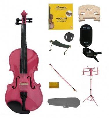 4/4 Pink Violin,Case,Pink Bow+Rosin+2 Bridges+Tuner+Shoulder Rest+Pink Stand+Mute
