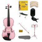 3/4 Pink Violin,Case,Pink Bow+Rosin+2 Bridges+Tuner+Shoulder Rest+Pink Stand