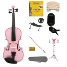1/4 Pink Violin,Case,Pink Bow+Rosin+2 Bridges+Tuner+Shoulder Rest+Pink Stand+Mute