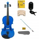 3/4 Size Blue Violin,Case,Blue Bow+Rosin+2 Sets Strings+2 Bridges+Tuner