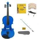 3/4 Size Blue Violin,Case,Blue Bow+Rosin+2 Sets Strings+2 Bridges+Shoulder Rest