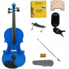 3/4 Size Blue Violin,Case,Blue Bow+Rosin+Strings+2 Bridges+Tuner+Shoulder Rest