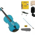1/16 Size Blue Violin,Case,Blue Bow+Rosin+Strings+2 Bridges+Tuner+Shoulder Rest