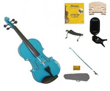 1/16 Size Blue Violin,Case,Blue Bow+Rosin+Strings+2 Bridges+Tuner+Shoulder Rest