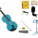 1/2 Blue Violin,Case,Blue Bow+Rosin+2 Bridges+Tuner+Shoulder Rest+Blue Stand